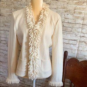 Talbots Ivory Wool Jacket Size Medium  with Fringe